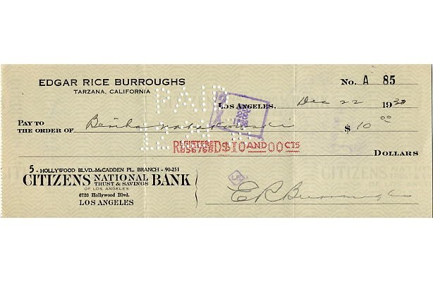 Burroughs, Edgar Rice-Creator of 'Tarzan'-Signed Cheque